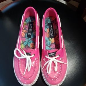 Sperry pink patent leather sequined loafer